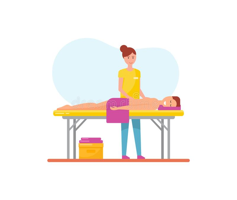 Διάνυσμα μασέρ και ανδρών γυναικών θεραπείας μασάζ απεικόνιση αποθεμάτων