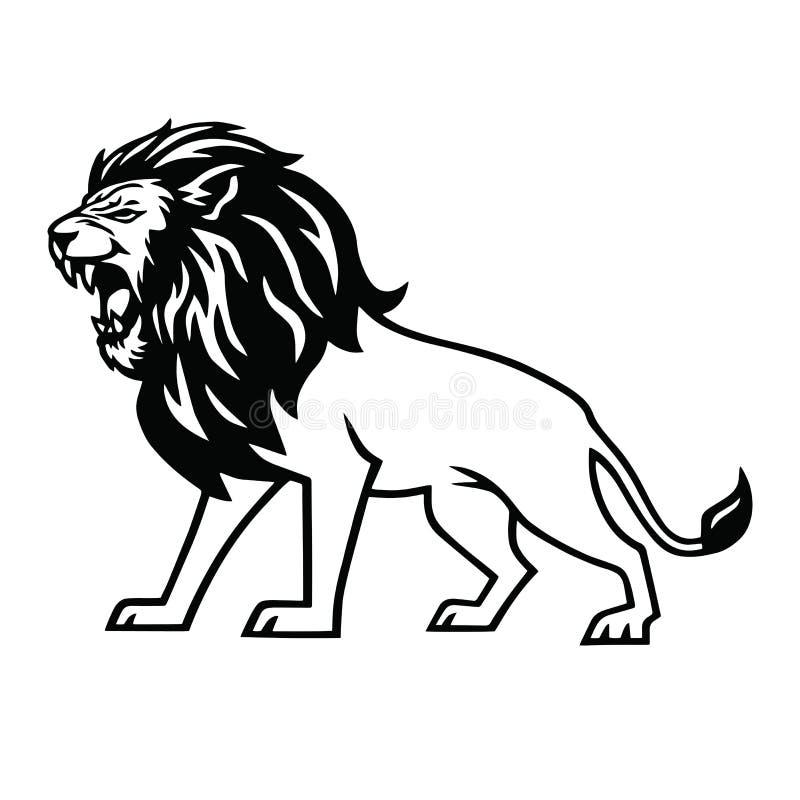 Διάνυσμα μασκότ λογότυπων βρυχηθμού λιονταριών ελεύθερη απεικόνιση δικαιώματος