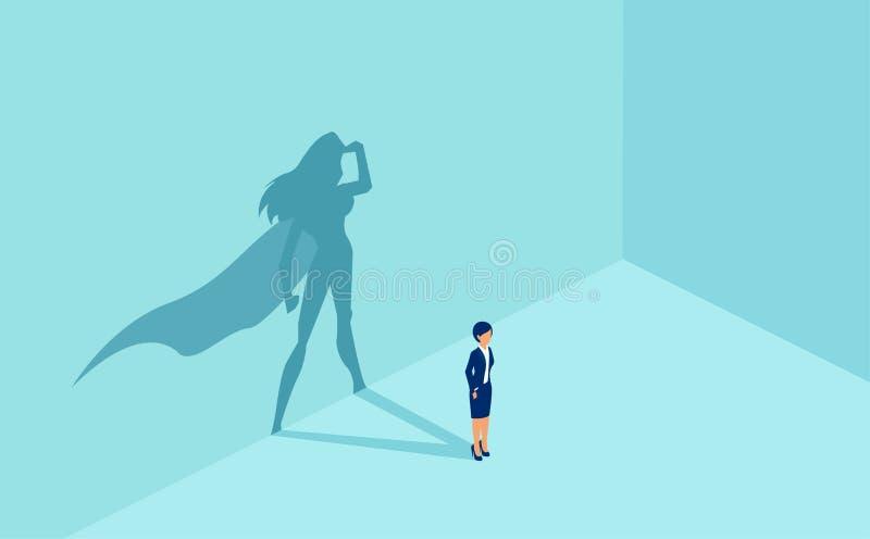 Διάνυσμα μιας επιχειρηματία με τη σκιά superhero απεικόνιση αποθεμάτων