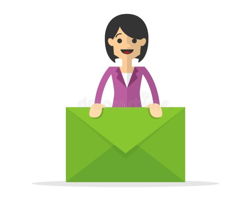 Διάνυσμα μιας επιχειρηματία που κρατά ένα ταχυδρομείο επιστολών ελεύθερη απεικόνιση δικαιώματος