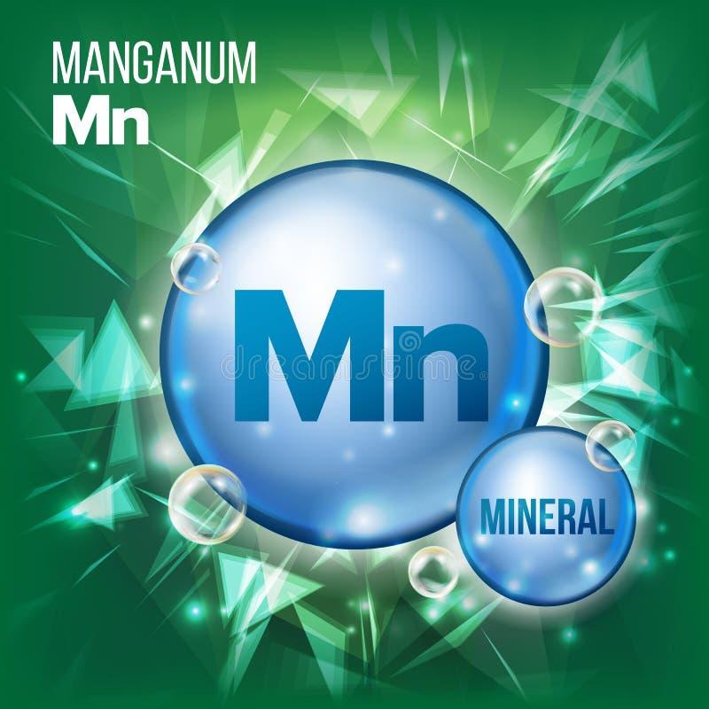 Διάνυσμα ΜΝ Manganum Ορυκτό μπλε εικονίδιο χαπιών Εικονίδιο χαπιών καψών βιταμινών Ουσία για την ομορφιά, καλλυντικό, αγγελίες Pr διανυσματική απεικόνιση