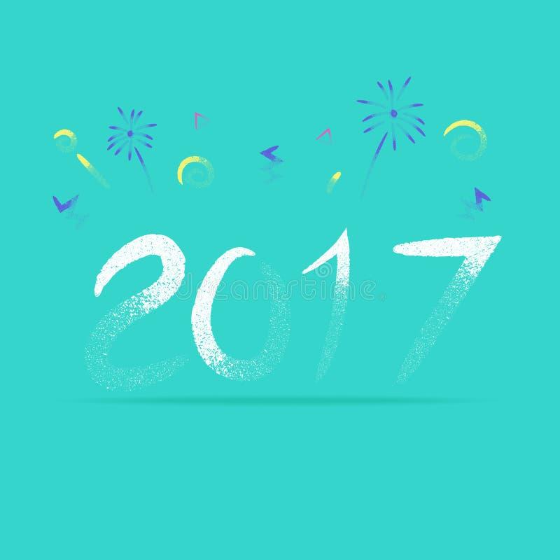 Διάνυσμα, νέο έτος του 2017 με το πυροτέχνημα στο τραχύ ύφος βουρτσών μολυβιών, απεικόνιση αποθεμάτων