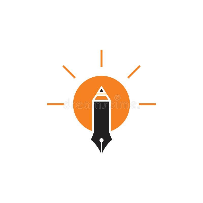 Διάνυσμα ντεκόρ ιδέας λαμπών φωτός συγγραφέων στυλό διανυσματική απεικόνιση