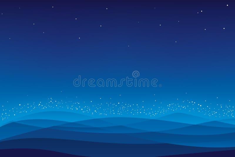 διάνυσμα νύχτας βουνών ελεύθερη απεικόνιση δικαιώματος