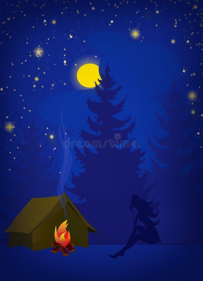 Διάνυσμα νύχτας πεζοπορώ διανυσματική απεικόνιση