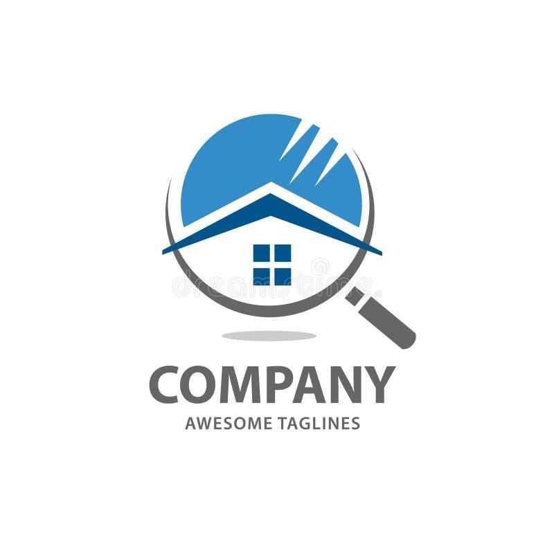Διάνυσμα λογότυπων αναζήτησης σπιτιών απεικόνιση αποθεμάτων
