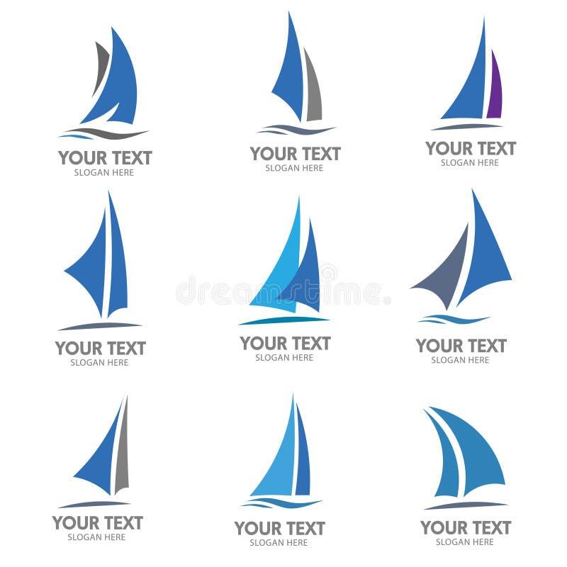 Διάνυσμα λογότυπων βαρκών ναυσιπλοΐας διανυσματική απεικόνιση