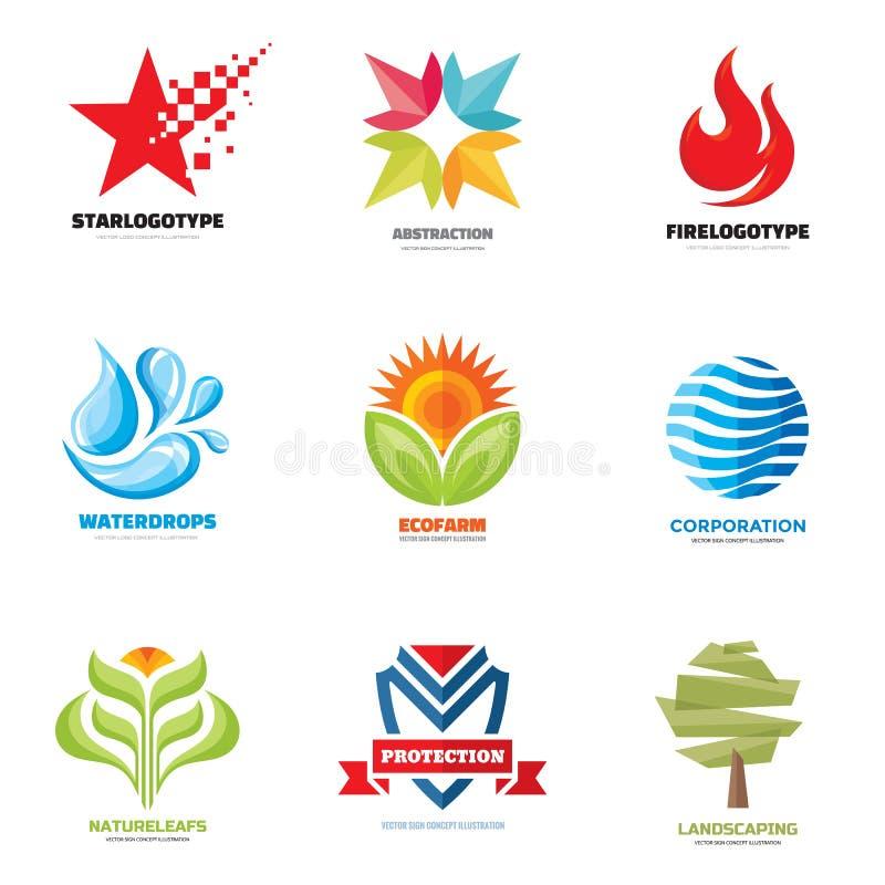 Διάνυσμα λογότυπων καθορισμένο - δημιουργικές απεικονίσεις Συλλογή λογότυπων Διανυσματικό σχέδιο λογότυπων Διανυσματικό πρότυπο λ απεικόνιση αποθεμάτων
