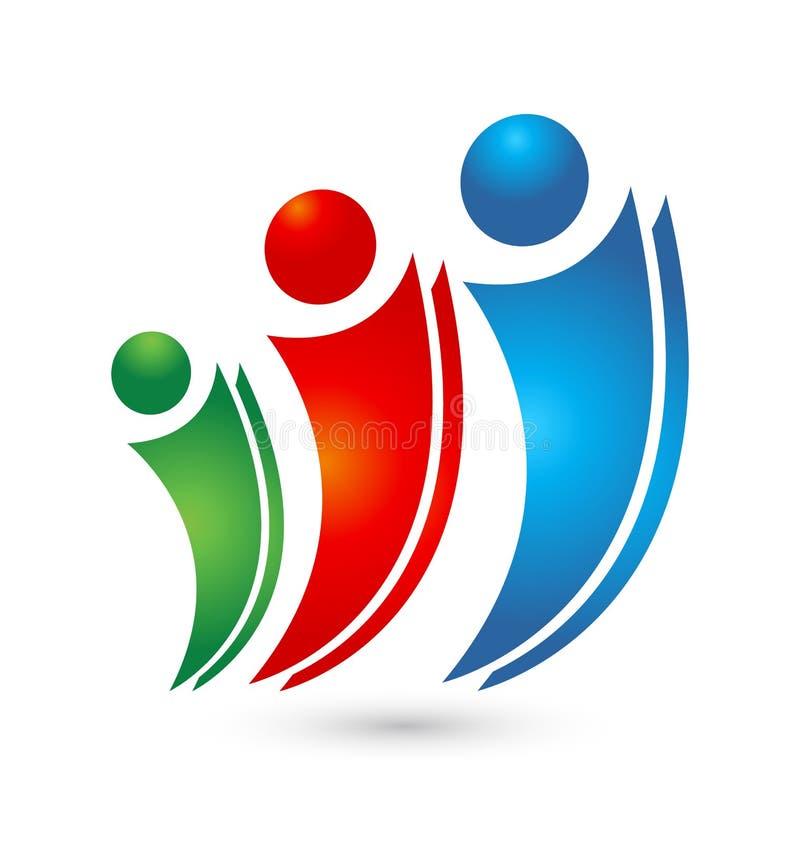Διάνυσμα οικογενειακών ανθρώπων ομαδικής εργασίας λογότυπων ελεύθερη απεικόνιση δικαιώματος