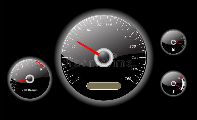 Διάνυσμα οργάνων ταμπλό αυτοκινήτων που διευκρινίζεται απεικόνιση αποθεμάτων