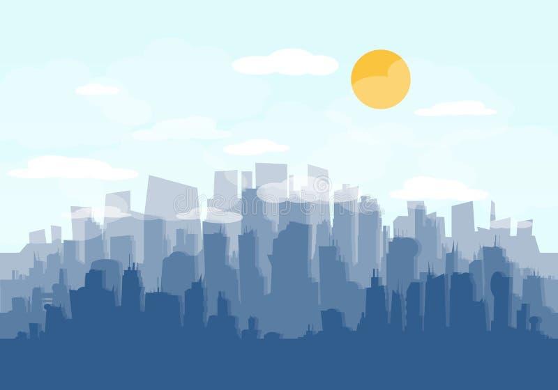 Διάνυσμα οριζόντων πόλεων ελεύθερη απεικόνιση δικαιώματος