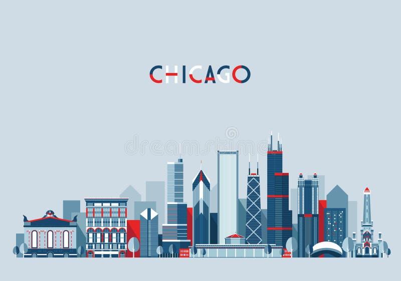 Διάνυσμα οριζόντων πόλεων του Σικάγου Ηνωμένες Πολιτείες καθιερώνον τη μόδα διανυσματική απεικόνιση