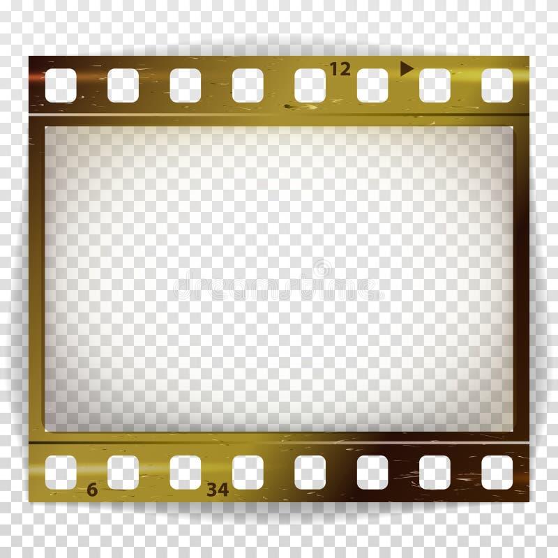 Διάνυσμα λουρίδων ταινιών Κινηματογράφος του κενού λουρίδων πλαισίων φωτογραφιών που γρατσουνίζεται που απομονώνεται στο διαφανές ελεύθερη απεικόνιση δικαιώματος