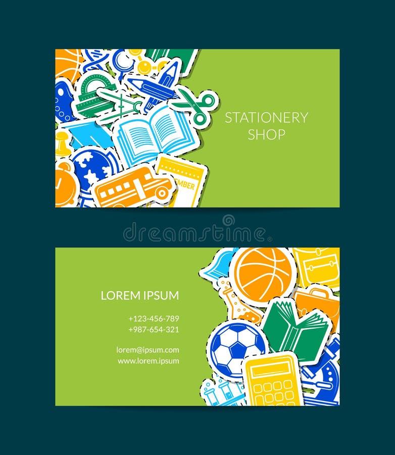 Διάνυσμα πίσω στην απεικόνιση προτύπων επαγγελματικών καρτών σχολικών χαρτικών διανυσματική απεικόνιση