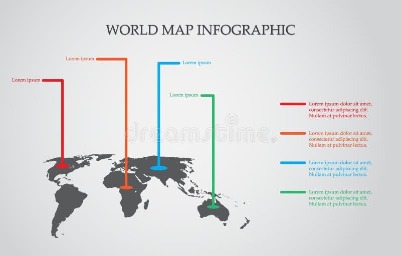 Διάνυσμα παγκόσμιων χαρτών, έννοια InfoGraphic, επίπεδος γήινος χάρτης για τον ιστοχώρο, ετήσια έκθεση, απεικόνιση παγκόσμιων χαρ απεικόνιση αποθεμάτων