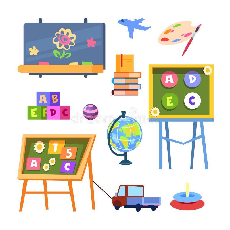 Διάνυσμα παιχνιδιών και γραφείων παιδιών που απομονώνεται στο άσπρο υπόβαθρο διανυσματική απεικόνιση