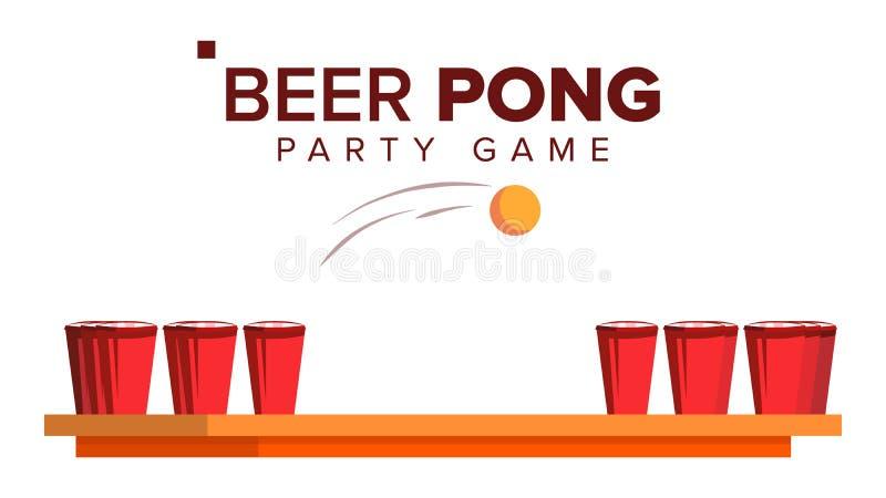 Διάνυσμα παιχνιδιών Pong μπύρας Παιχνίδι κόμματος οινοπνεύματος κόκκινο αντισφαίρισης φλυτζανιών σφαιρών Απομονωμένη επίπεδη απει ελεύθερη απεικόνιση δικαιώματος