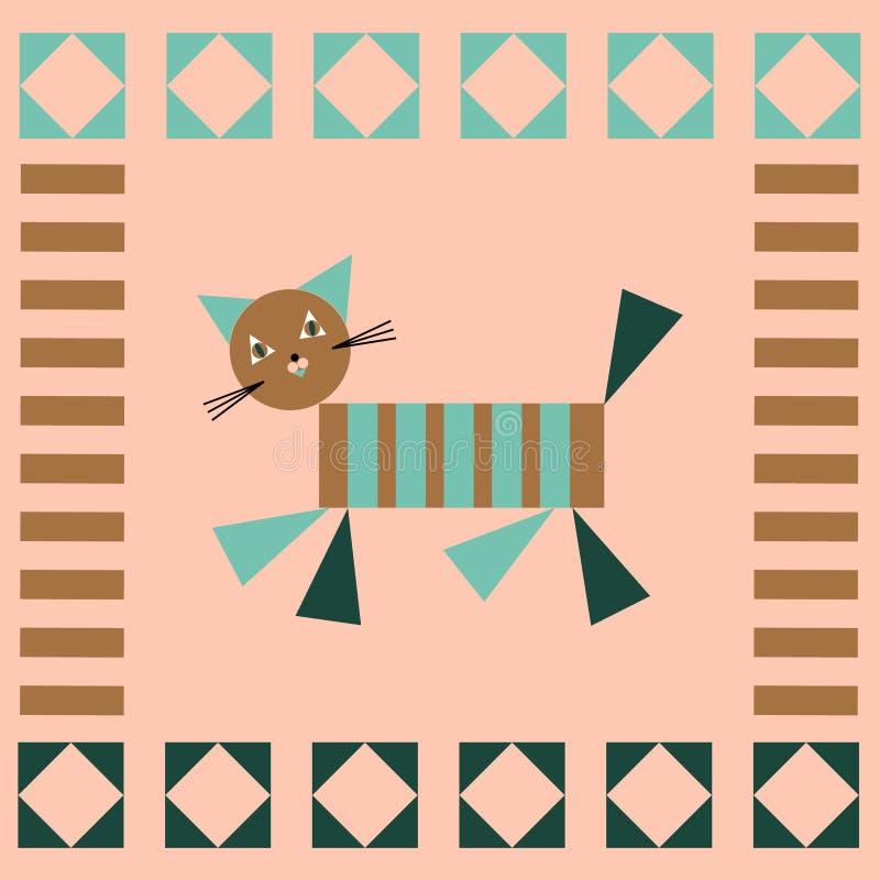 Διάνυσμα παπλωμάτων προσθηκών παιδιών με τη γεωμετρική γάτα και τις απλές γεωμετρικές μορφές Σχέδιο μωσαϊκών σχεδίων επιφάνειας μ ελεύθερη απεικόνιση δικαιώματος