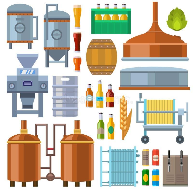 Διάνυσμα παραγωγής εργοστασίων μπύρας ελεύθερη απεικόνιση δικαιώματος