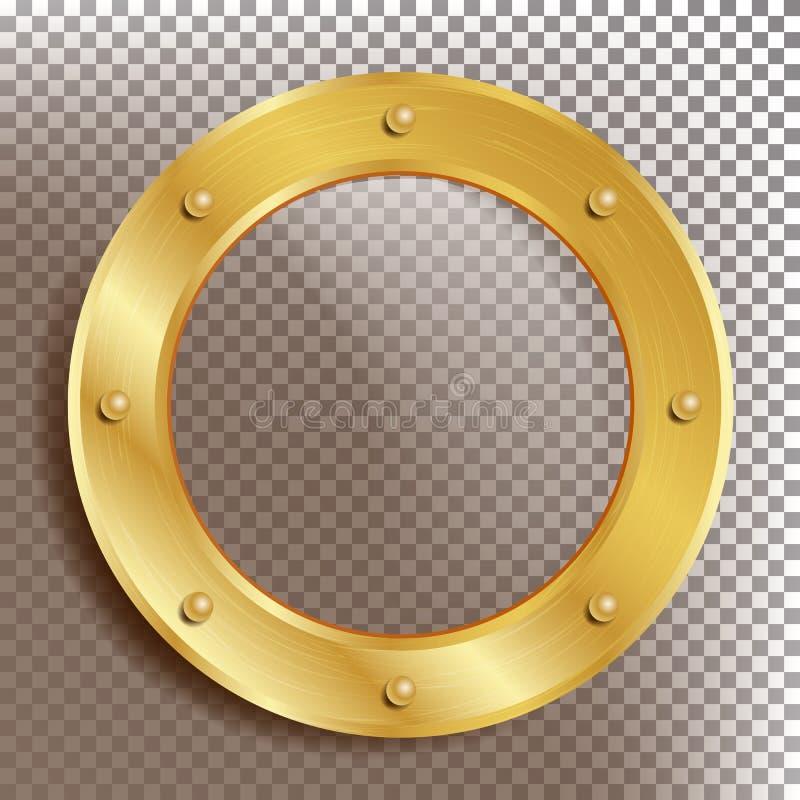 Διάνυσμα παραφωτίδων Στρογγυλό χρυσό παράθυρο με τα καρφιά Στοιχείο σχεδίου πλαισίων μετάλλων σκαφών Bathyscaphe Για τα αεροσκάφη διανυσματική απεικόνιση