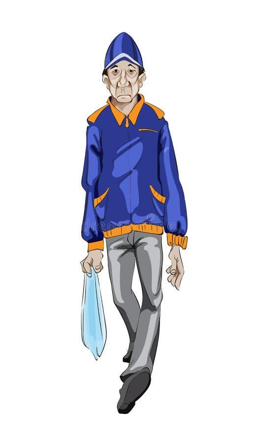Διάνυσμα περπατήματος ατόμων Τυχαίος τύπος Λεπτομερείς απεικονίσεις χαρακτήρα κινουμένων σχεδίων απεικόνιση αποθεμάτων