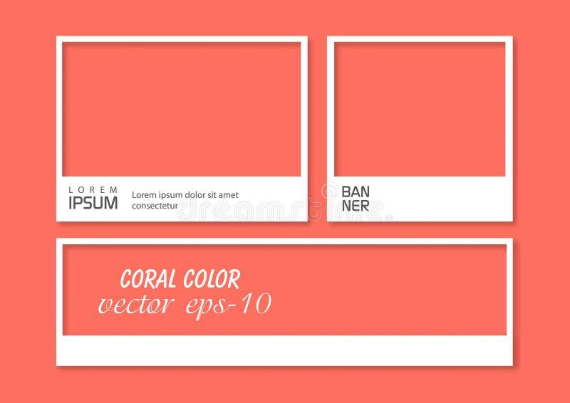 Διάνυσμα πλαισίων κοραλλιών Πλαίσιο φωτογραφιών με το καθιερώνον τη μόδα χρώμα Μίμηση ύφους Polaroid διανυσματική απεικόνιση