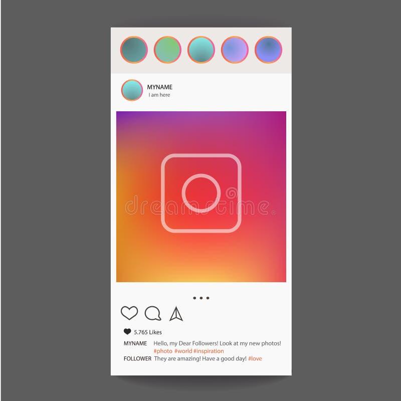 Διάνυσμα πλαισίων φωτογραφιών για την εφαρμογή Κοινωνική έννοια και διεπαφή MEDIA ελεύθερη απεικόνιση δικαιώματος