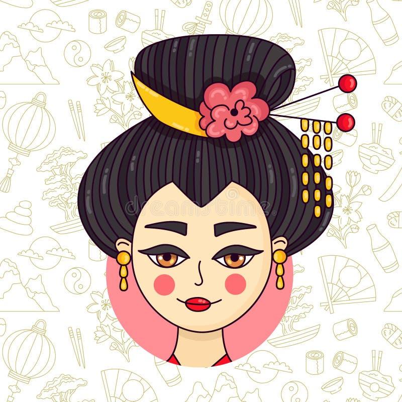 Διάνυσμα πορτρέτου γυναικών της Ιαπωνίας γκείσων doodle διανυσματική απεικόνιση
