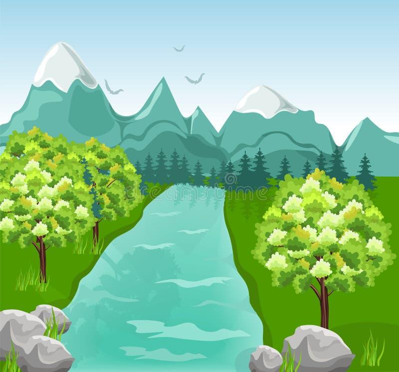 Διάνυσμα ποταμών βουνών Πράσινα υπόβαθρα άνοιξη ελεύθερη απεικόνιση δικαιώματος