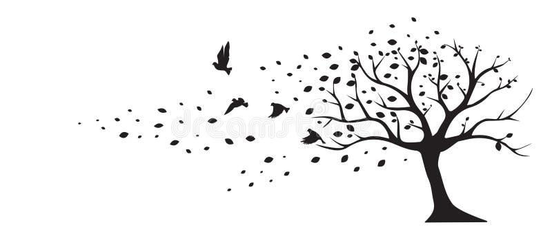 Διάνυσμα πουλιών φύλλων αέρα δέντρων, decals τοίχων, ντεκόρ τοίχων Μαύρο σχέδιο τέχνης που απομονώνεται στο άσπρο υπόβαθρο ελεύθερη απεικόνιση δικαιώματος