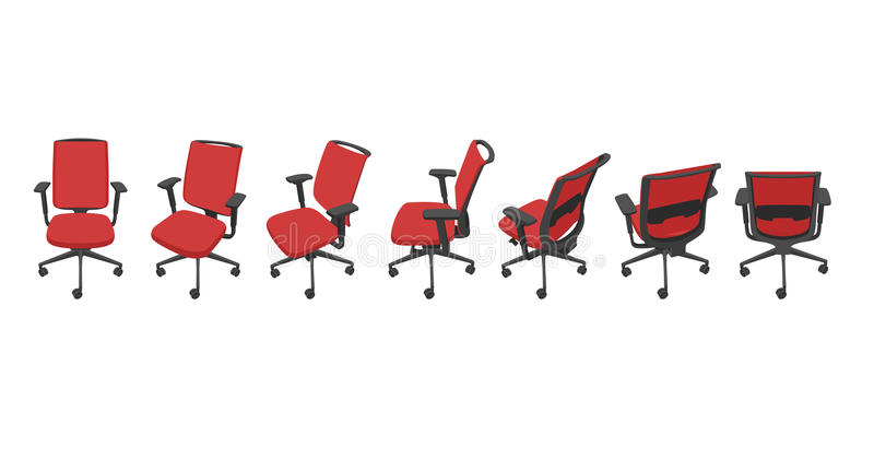 Διάνυσμα που τίθεται με απομονωμένες τις κόκκινο καρέκλες γραφείων κατά τις διαφορετικές απόψεις διανυσματική απεικόνιση