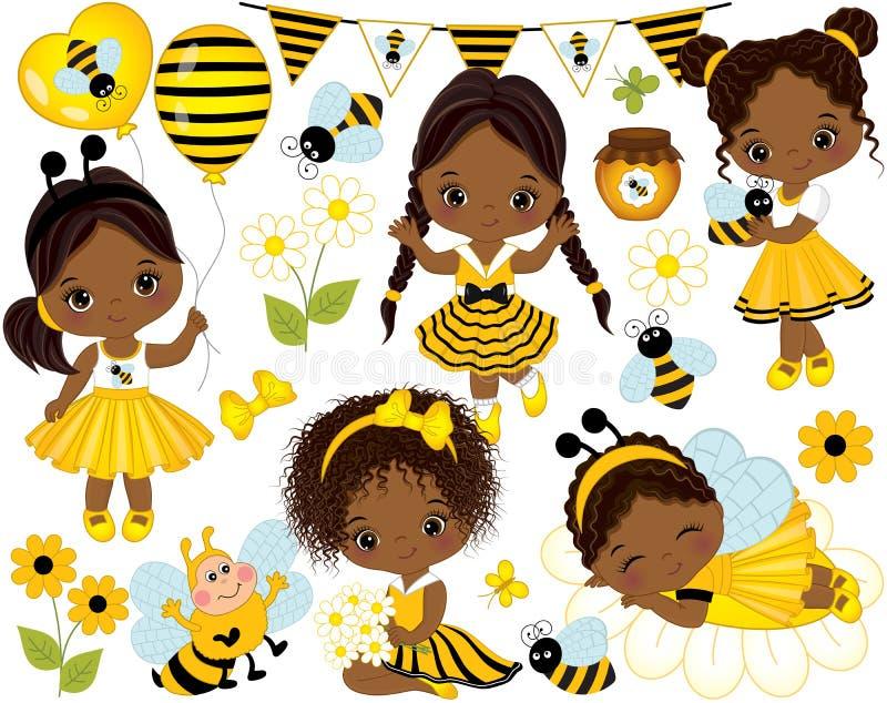Διάνυσμα που τίθεται με τα κορίτσια, τις μέλισσες, το μέλι, τα μπαλόνια και τα λουλούδια λίγων αφροαμερικάνων διανυσματική απεικόνιση