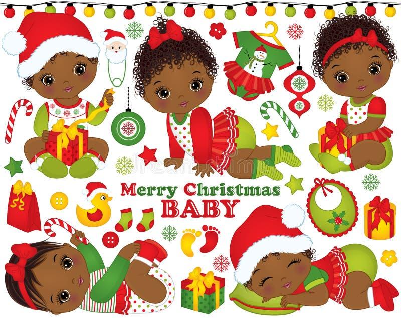 Διάνυσμα που τίθεται με τα κοριτσάκια αφροαμερικάνων που φορούν τα ενδύματα Χριστουγέννων και τα στοιχεία Χριστουγέννων απεικόνιση αποθεμάτων