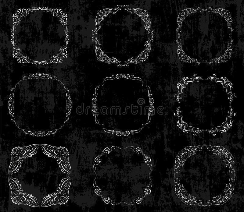 Διάνυσμα που τίθεται με τα περίκομψα σύνορα πινάκων κιμωλίας διανυσματική απεικόνιση