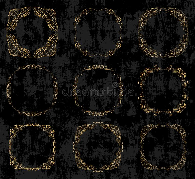 Διάνυσμα που τίθεται με τα περίκομψα χρυσά σύνορα και τα πλαίσια ελεύθερη απεικόνιση δικαιώματος