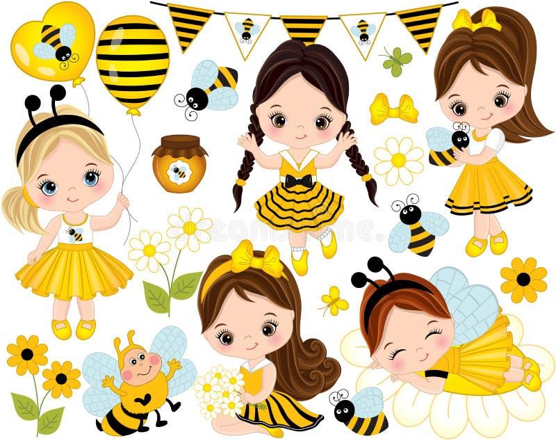 Διάνυσμα που τίθεται με τα χαριτωμένα μικρά κορίτσια, τις μέλισσες, το μέλι, τα μπαλόνια και τα λουλούδια διανυσματική απεικόνιση