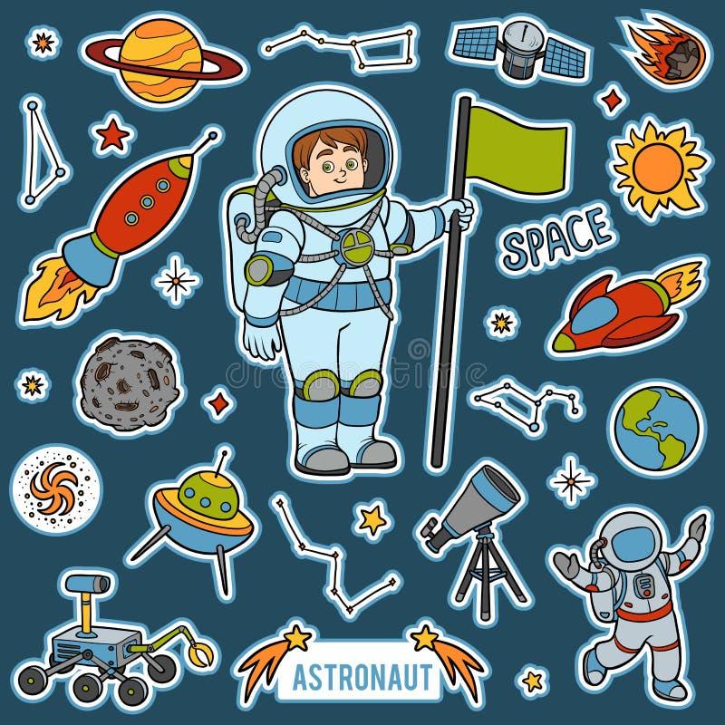 Διάνυσμα που τίθεται με τον αστροναύτη και τα διαστημικά αντικείμενα Στοιχεία κινούμενων σχεδίων απεικόνιση αποθεμάτων