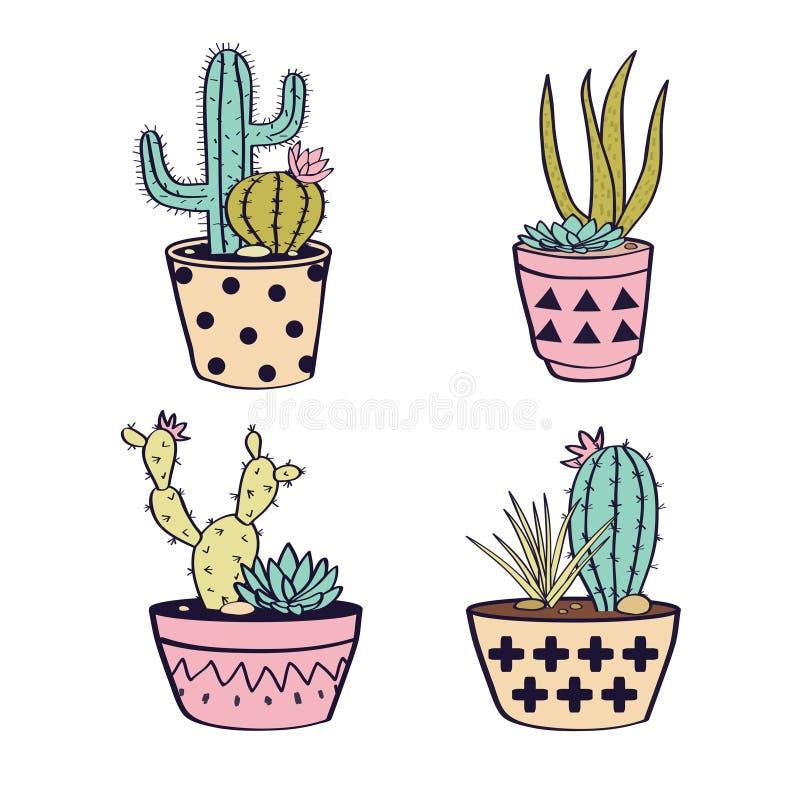 Διάνυσμα που τίθεται με τους κάκτους και succulents στα δοχεία απεικόνιση αποθεμάτων