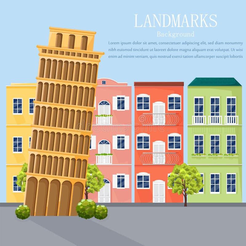 Διάνυσμα προσόψεων αρχιτεκτονικής εικονικής παράστασης πόλης της Ιταλίας Ζωηρόχρωμο υπόβαθρο ύφους κινούμενων σχεδίων διανυσματική απεικόνιση