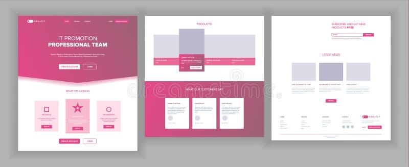 Διάνυσμα προτύπων ιστοχώρου Επιχειρησιακή διεπαφή σελίδων Προσγειωμένος ιστοσελίδας Απαντητικό σχέδιο Ux Μορφή ευκαιρίας άνθρωποι ελεύθερη απεικόνιση δικαιώματος