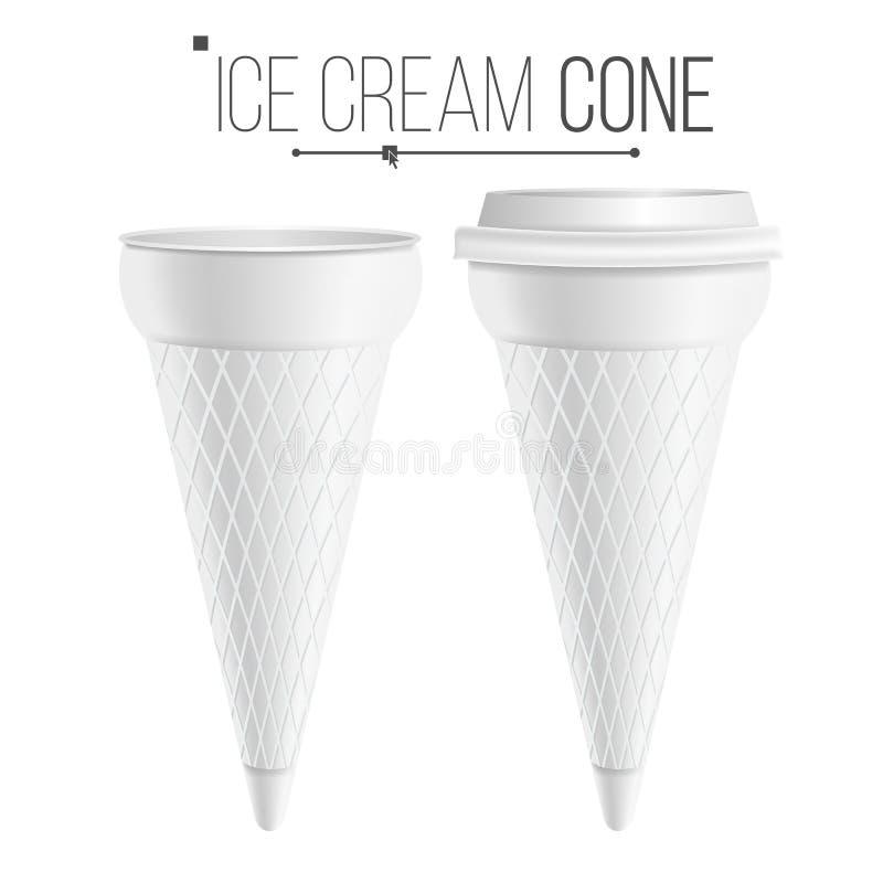 Διάνυσμα προτύπων κώνων παγωτού Για το επιδόρπιο, γιαούρτι Σκάφη πλαστικού ή χαρτοκιβωτίων Απομονωμένος στην άσπρη απεικόνιση υπο ελεύθερη απεικόνιση δικαιώματος