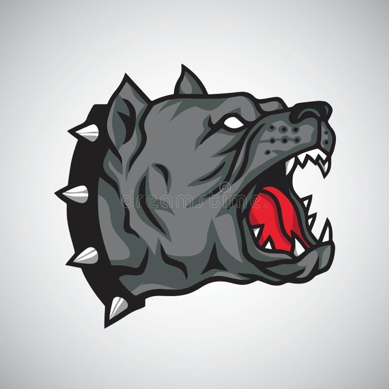 Διάνυσμα προτύπων σχεδίου μασκότ λογότυπων σκυλιών Pitbull ελεύθερη απεικόνιση δικαιώματος