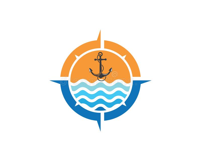 Διάνυσμα προτύπων σχεδίου πυξίδων λογότυπων εικονιδίων αγκύρων διανυσματική απεικόνιση