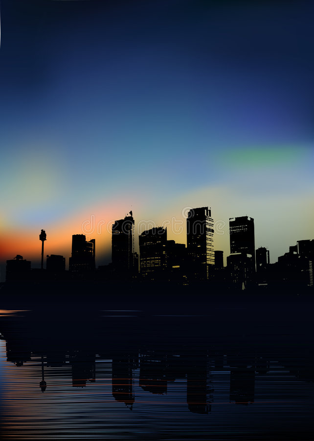 διάνυσμα πρωινού πόλεων ελεύθερη απεικόνιση δικαιώματος