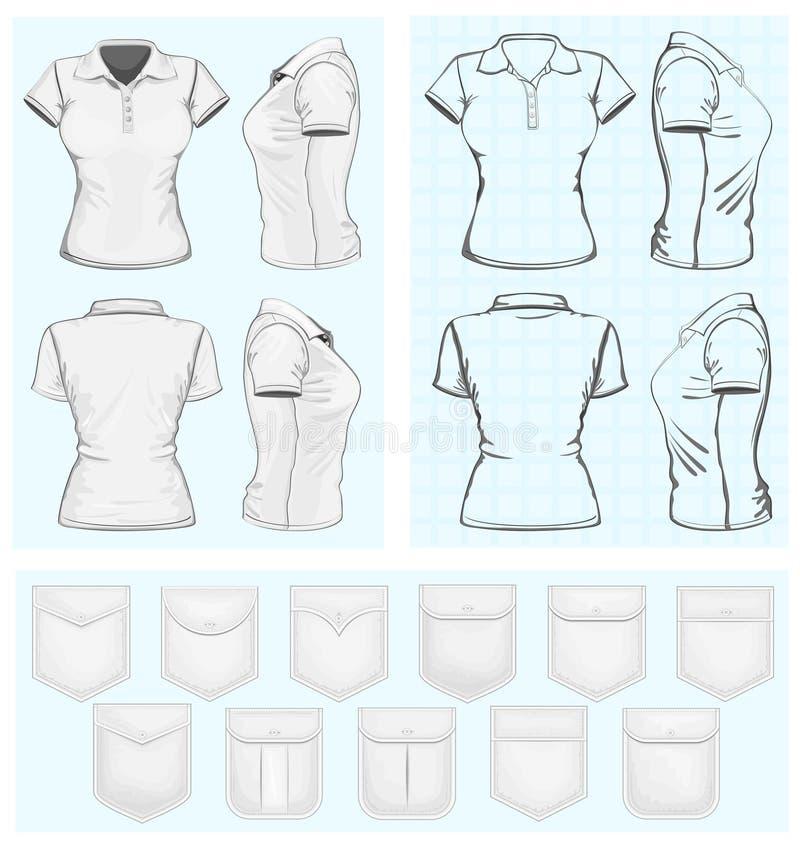 Πρότυπα σχεδίου πόλο-πουκάμισων γυναικών διανυσματική απεικόνιση