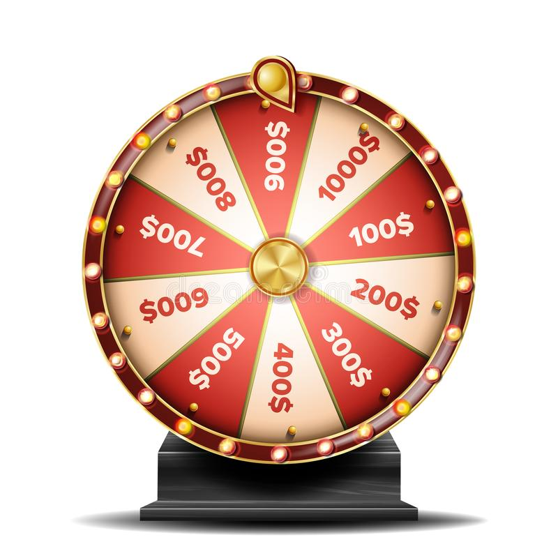 Διάνυσμα ροδών τύχης Περιστρεφόμενη τυχερή ρουλέτα Τύχη λαχειοφόρων αγορών απεικόνιση ελεύθερη απεικόνιση δικαιώματος