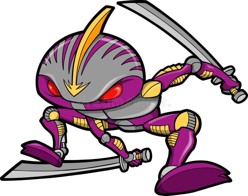διάνυσμα ρομπότ ninja απεικόνι&sigm ελεύθερη απεικόνιση δικαιώματος