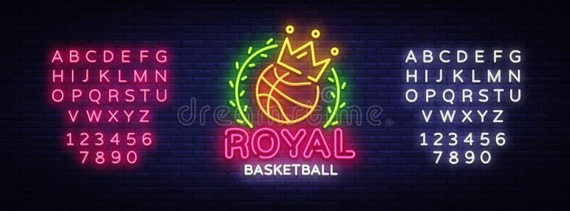 Διάνυσμα σημαδιών νέου καλαθοσφαίρισης Βασιλικό σημάδι νέου προτύπων σχεδίου καλαθοσφαίρισης, ελαφρύ έμβλημα, πινακίδα νέου, σύγχ διανυσματική απεικόνιση