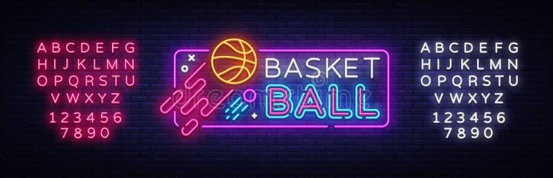 Διάνυσμα σημαδιών νέου καλαθοσφαίρισης Σημάδι νέου προτύπων σχεδίου καλαθοσφαίρισης, ελαφρύ έμβλημα, πινακίδα νέου, νυχτερινός φω διανυσματική απεικόνιση