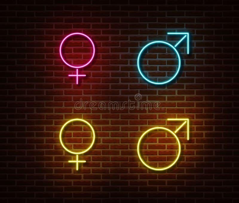 Διάνυσμα σημαδιών συμβόλων γένους νέου που απομονώνεται στο τουβλότοιχο Αρσενικό και θηλυκό ελαφρύ σύμβολο σημαδιών, decorati απεικόνιση αποθεμάτων